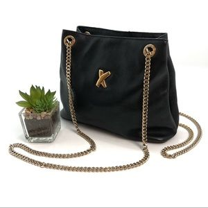 Paloma Picasso Black Leather Gold Chain Purse Bag